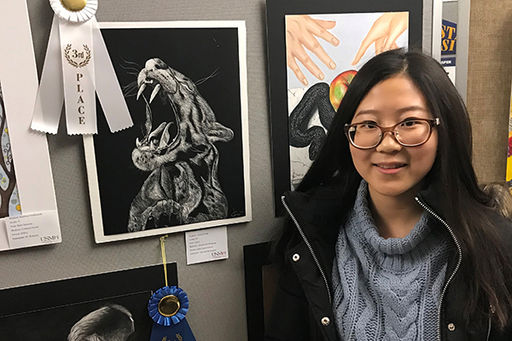 Jessica Geng '21 Receives 3rd Place for Drawing in Washington County High School Juried Art Show