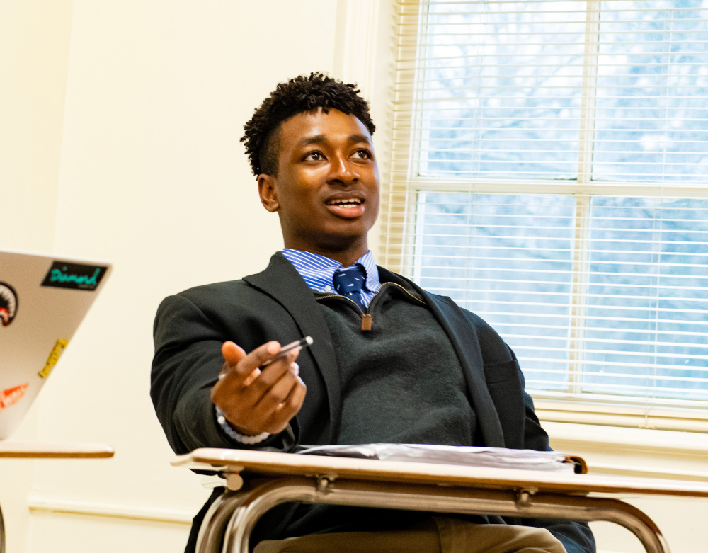 A student speaks in class.