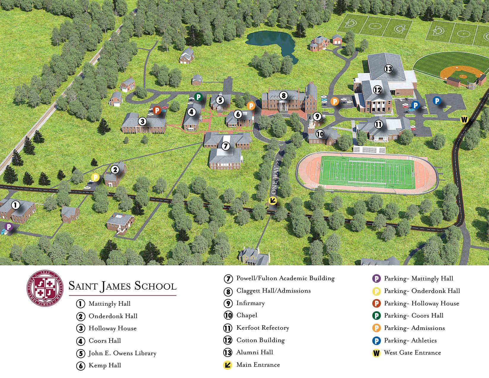 Campus Map Saint James School Boarding School In Maryland