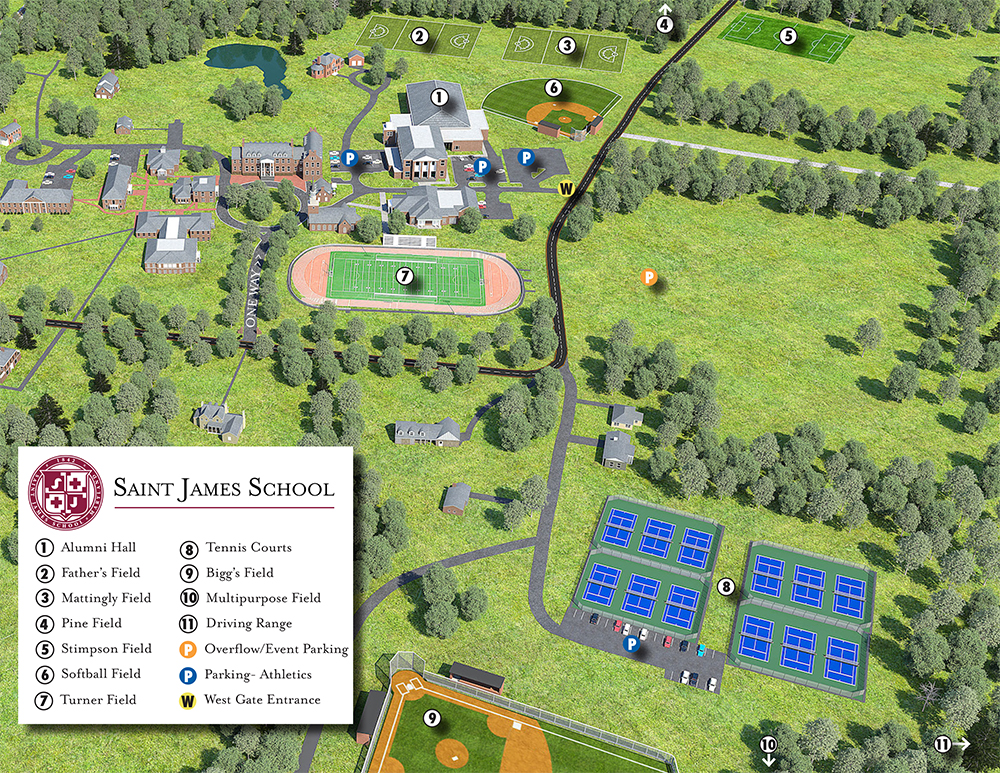 Saint James Athletics Facilities Map